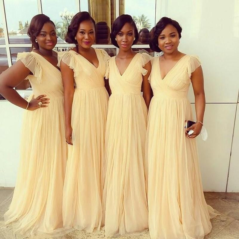 yellow bridesmaid dress,long bridesmaid dress,chiffon bridesmaid dress,v-neck bridesmaid dress,BD1620