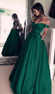 Off Shoulder Long Satin Prom Dress, A-line Green Simple Evening Dress, BH12154
