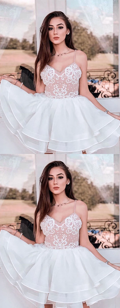 White cute lace tulle short prom dresses homecoming dresses,HO252