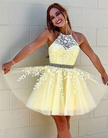 Yellow tulle lace short prom dresses yellow homecoming dresses,HO253