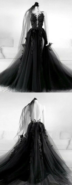 Black v neck tulle lace long prom dresses black tulle lace formal dresses,HO257