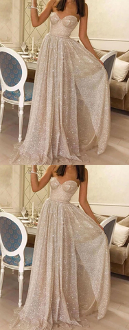 Champagne tulle sequin long prom dresses tulle formal dresses,HO258