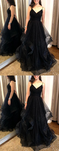 Black sweetheart tulle long prom dresses black evening dresses,HO261