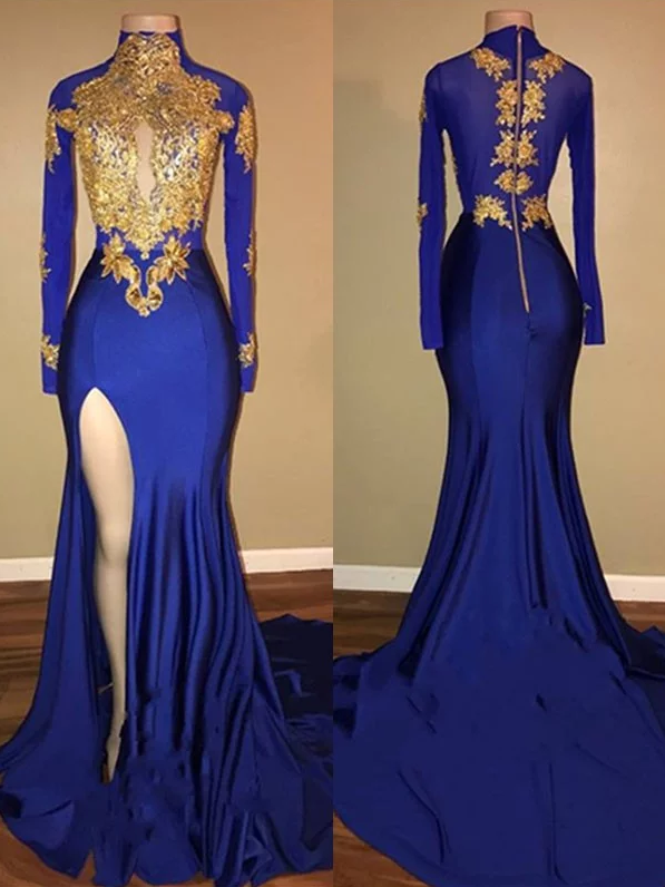 Royal Blue Long Sleeves Side Slit Formal Long Prom Dress,PO60
