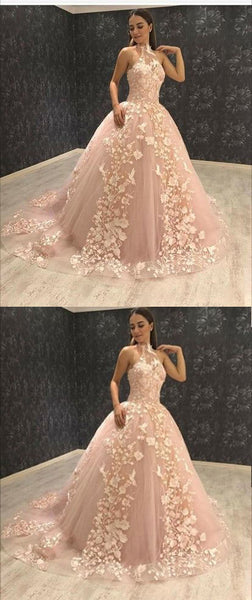 Ball Gown Halter Sweep Train Pink Tulle Prom Dress with Appliques,BH91017