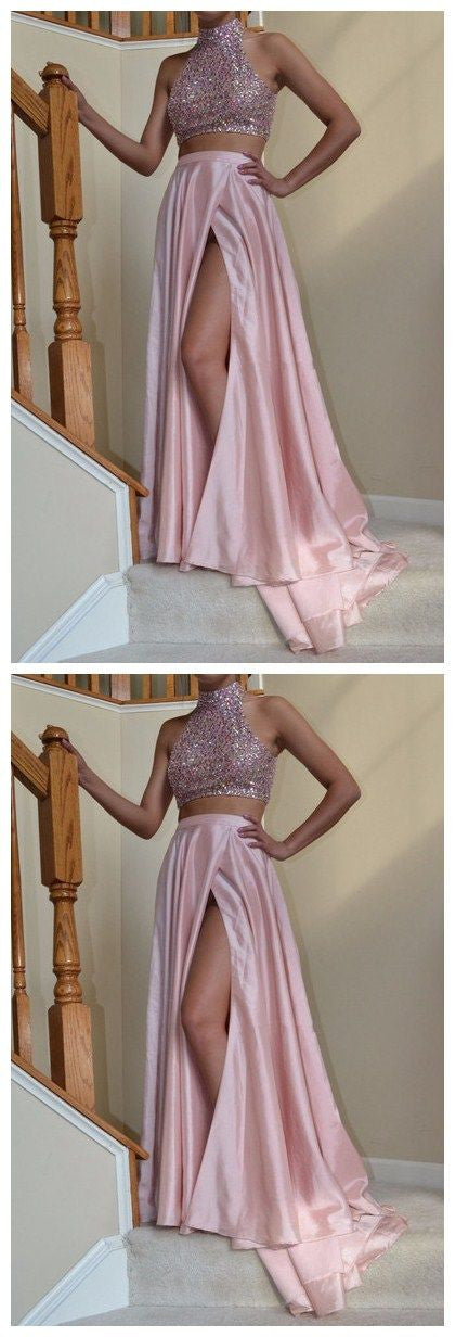 Halter Prom Dresses, Sweetheart Prom Dress,Leg Slit Prom Dresses,Pink Prom Dress,Two Pieces Prom Dresses,PD00221