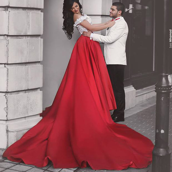 Red Prom Dresses, Cap Sleeve Prom Dress,Gorgeous Prom Dresses,Off-shoulder Prom Dress,Two Pieces Prom Dresses,PD00222