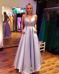 V-Neck Floor length Satin Prom Dress with Beading, BH91286