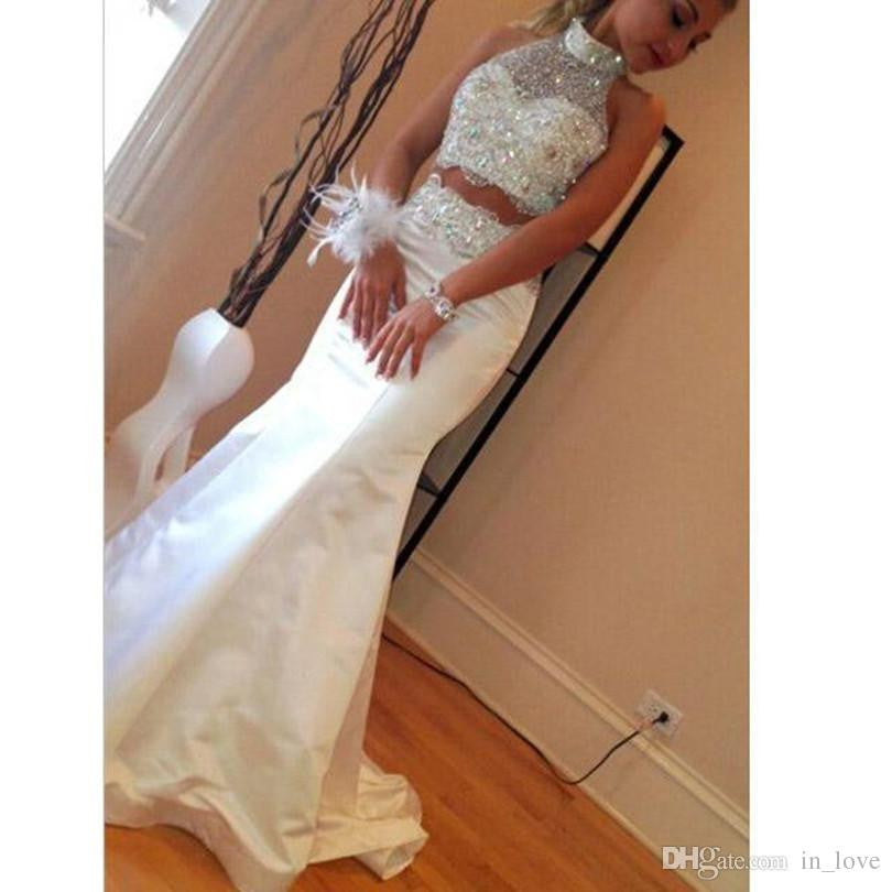Two Pieces Prom Dresses, Mermaid Prom Dress,Halter Prom Dresses,White Prom Dress,Cheap Prom Dresses,PD00225
