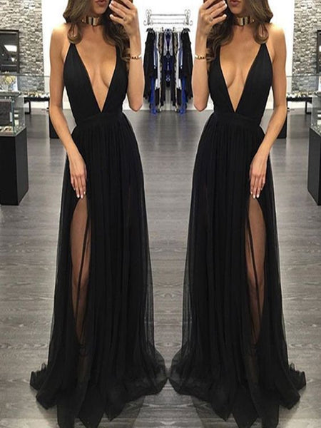 Black Prom Dresses Long, A-line Party Dresses V-neck, Tulle Backless Formal Evening Dresses Sexy,BD16549