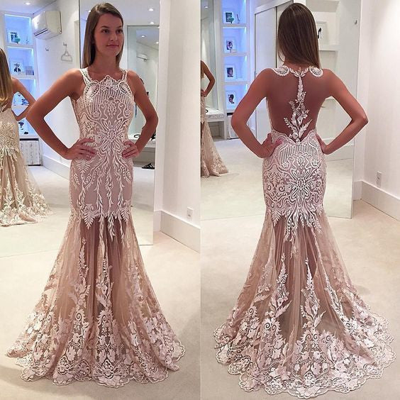 Mermaid Prom Dresses, Appliques Prom Dress,Elegant Prom Dresses,See-through Prom Dress,Cheap Prom Dresses,PD00230
