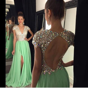 Crystal Prom Dresses, Back Hollow Prom Dress,Leg Slit Prom Dresses,Mint Prom Dress,V-neck Prom Dresses,PD00234