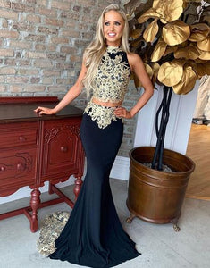 two pieces black evening dress with appliques long formal prom dress,HO194