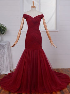 Burgundy Prom Dresses,Off shoulder Prom Dress,Long Prom dress,Tulle prom Dress,Evening Dress,BD410