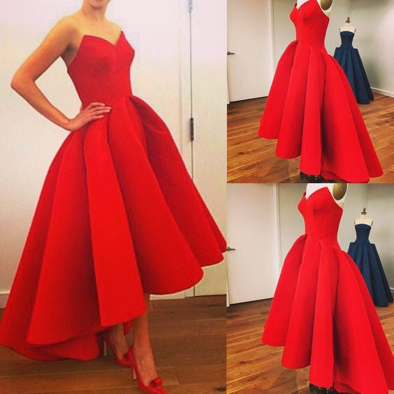 red prom dress,A-line Prom dress,sweetheart prom dress,hi-lo prom dress,party dress,BD1018