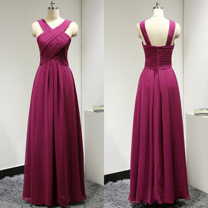 fuchsia bridesmaid dress,long bridesmaid dress,chiffon bridesmaid dress,cheap bridesmaid dress,BD624