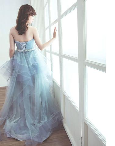 Light blue tulle long prom dress, sweet evening dress BD98009