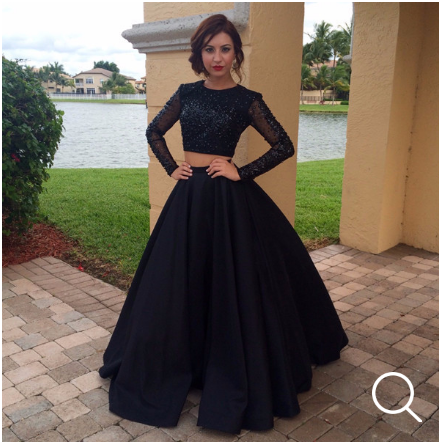 Black Prom Dresses,Two Pieces Prom Dress,Long Sleeve Prom Dresses,Charming Prom Dress,Cheap Prom Dresses,PD00254