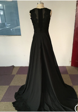 Black Prom Dresses,Leg Slit Prom Dress,Sleeveless Prom Dresses,Charming Prom Dress,Cheap Prom Dresses,PD00256