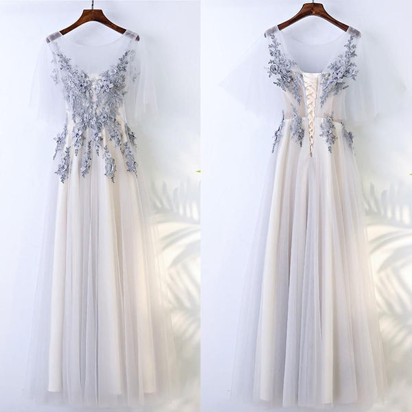 Save Beautiful Half Sleeves Tulle Applique Elegant Cheap Long Prom Dresses,PD455880