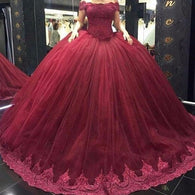 Burgundy Prom Dresses,Ball Gown Prom Dress,Tulle Prom Dresses,Cap Sleeve Prom Dress,Cheap Prom Dresses,PD00261