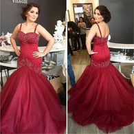 Mermaid Prom Dresses,Spaghetti Prom Dress,Burgundy Prom Dresses,Off-shoulder Prom Dress,Cheap Prom Dresses,PD00264
