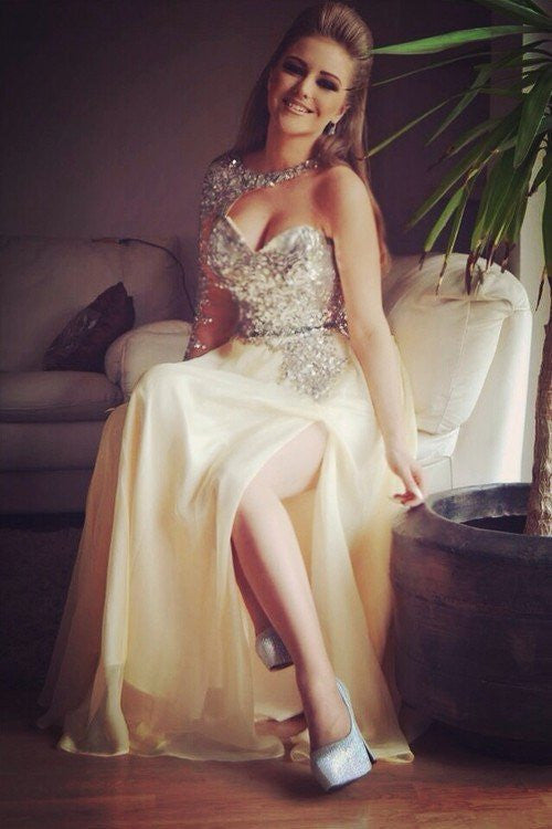 Side Slit Prom Dresses,Sequin Prom Dress,A-line Prom Dresses,Long Sleeve Prom Dress,Cheap Prom Dresses,PD00265