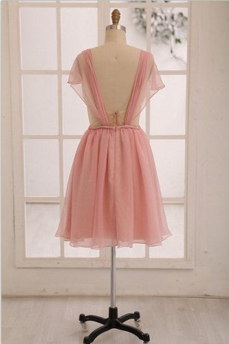 pink bridesmaid dress,short bridesmaid dress,chiffon bridesmaid dress,homecoming dress,BD625