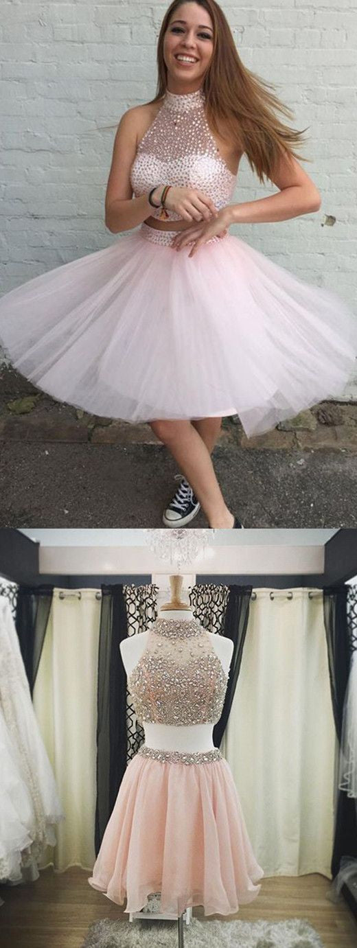 Pink Homecoming Dress,Two Pieces Homecoming Dresses,Sweetheart Homecoming Dress,Beading Homecoming Dresses,PD00274