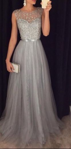 Beading Tulle Prom Dresses,Charming Gray Evening Dresses,A-line Modest Prom Gowns,Long Prom Gowns,BD45962
