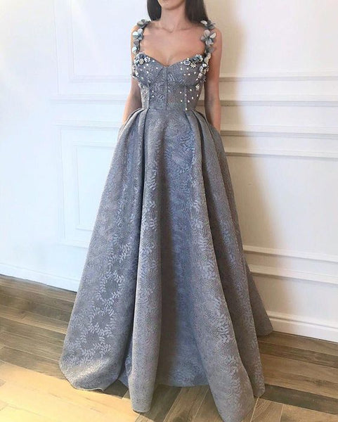 Gray Lace chic Long A-line 2019 Prom Dress,BD62635