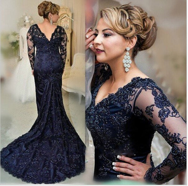 black prom Dress,mermaid Prom Dress,long sleeves prom dress,lace prom dress,prom dress long,PD00281