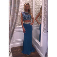 blue Prom Dress,new style Prom Dress,two pieces Prom Dress,beaded Prom Dress,party dress 2017,PD00292