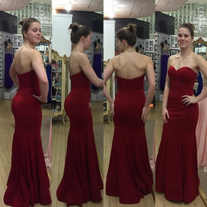 burgundy Prom Dress,simple Prom Dress,cheap Prom Dress,long Prom Dresses,strapless Prom Dress,PD00293