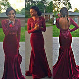 dark burgundy prom Dress,mermaid Prom Dress,long sleeves prom dress,backless evening dress,long evening dress,PD00295