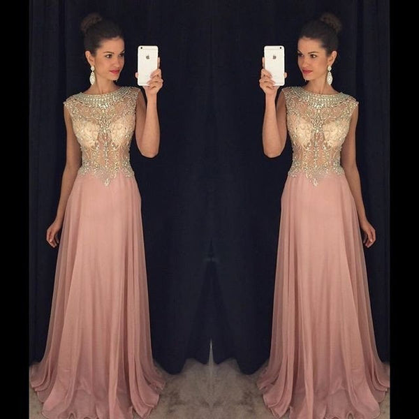 dusty pink prom dress,beading Prom Dress,long prom dress,charming prom dress,evening dress 2017,PD00297
