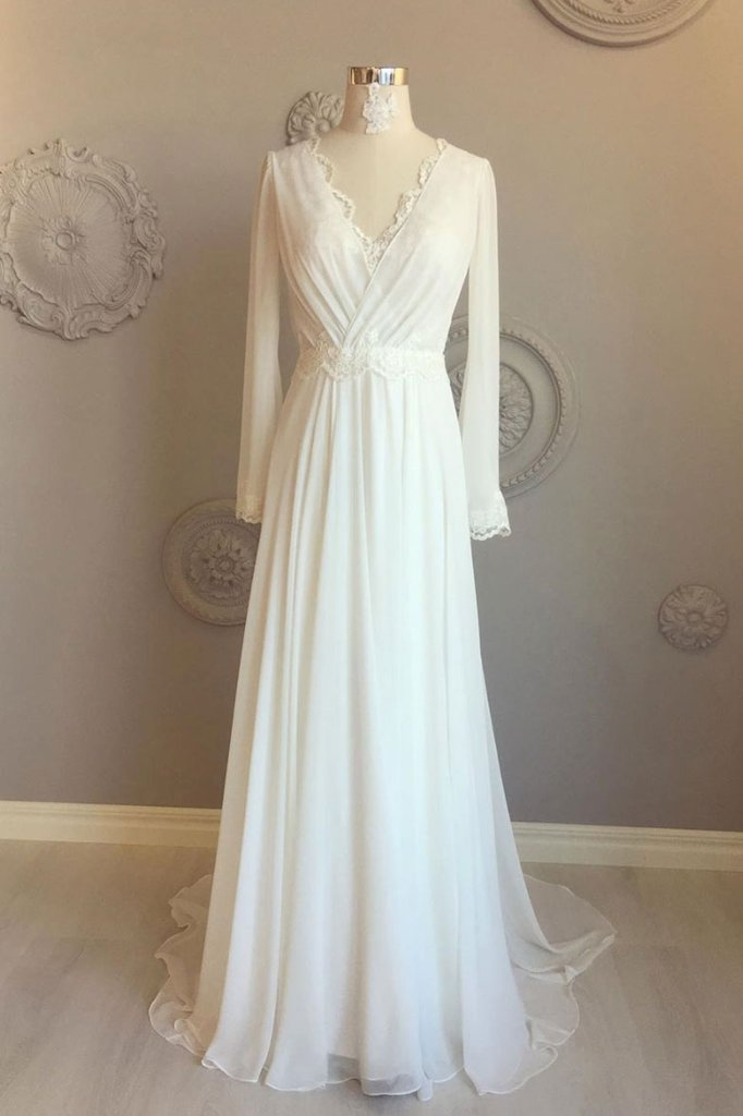 simple elegant white long sleeves v-neck chiffon and lace wedding dress,HO148