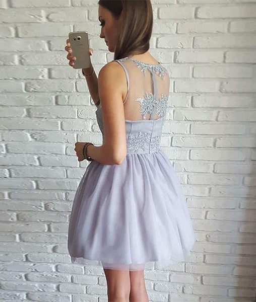 Gray V Neck Lace Tulle Short Prom Dresses, Homecoming Dresses,PD4558948
