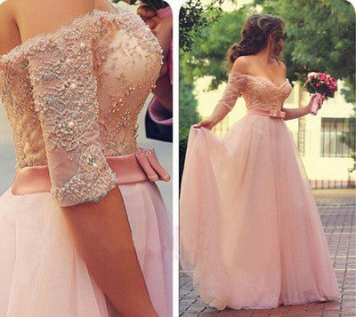 Pink prom Dress,Charming Prom Dresses,Off shoulder Evening Dress,A-line prom dress,Party dress,BD103