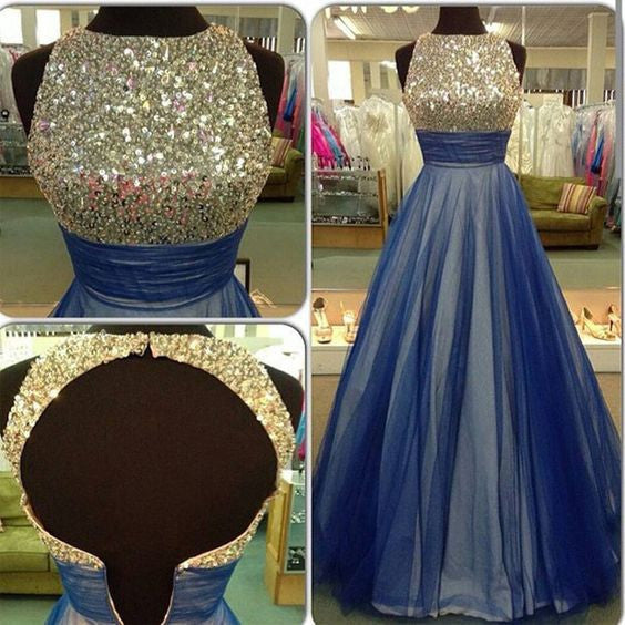 blue Prom Dresses,beading prom dress,charming prom Dress,open back prom dress,A-line prom gown,BD2413