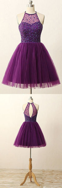 Elegant Purple Homecoming Dress,Short Beaded Prom Gowns,PD455846