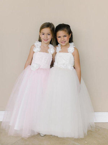 Cute Lovely Pink Flower Girl Dresses, Cheap Little Girl Dresses, FD003