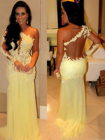 yellow prom Dress,one shoulder Prom Dresses,formal Evening Dress,see through back prom dress,BD2850