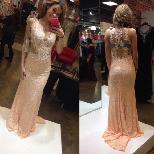 lace prom Dress,pink Prom Dresses,formal Evening Dress,v-neck prom dress,charming evening dress 2017,BD2851