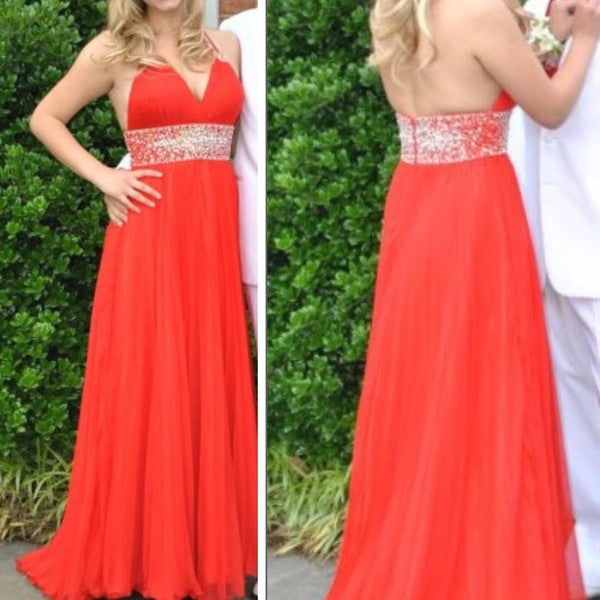coral prom dress,long Prom Dress,halter prom dress,chiffon prom dress,cheap evening dress,BD2881