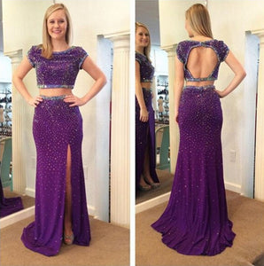 purple prom dress,long Prom Dress,beaded prom dress,two pieces prom dress,open back evening dress,BD2889