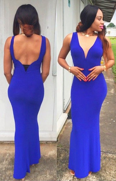 royal blue prom dress,long Prom Dress,mermaid prom dress,elegant evening dress,v-neck prom dress,BD2713