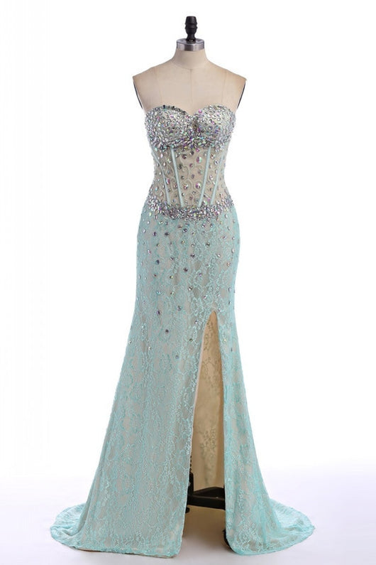 light blue prom dress,long Prom Dress,strapless prom dress,side slit prom dress,charming evening dress,BD2893
