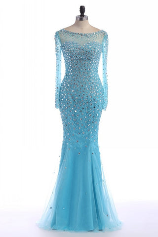 blue prom dress,long Prom Dress,beaded prom dress,long sleeves prom dress,beaded evening dress,BD2894