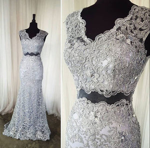gray prom dress,long Prom Dress,lace prom dress,two pieces prom dress,elegant evening dress,BD2895